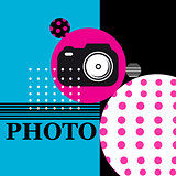 Vector poster sign camera for web design