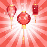 New Years bright postcard with Chinese lanterns