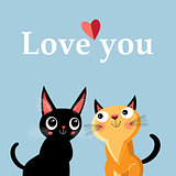 Greeting card with enamored kittens