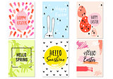 Hand drawn Easter cards, vector set