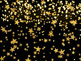 the Golden rain of stars on the black background,celebration