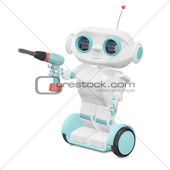3D Illustration Little Robot with Screwdriver