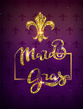 Golden lily silhouette symbol festival mardi gras. Greeting card gold text decoration