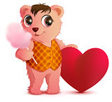 Pink fun bear holds sweet cotton wool and heart shape. Valentines day greeting card