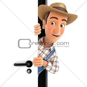 3d farmer peeking behind a door