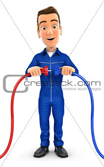 3d mechanic plugging two power cords