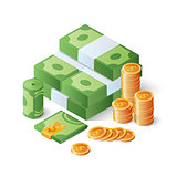 Pile of cash and gold coins. Heap of dollar bills. Big money concept. Isometric vector illustration