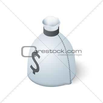 Money bag isolated on white background. Isometric vector illustration