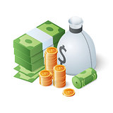 Pile of cash and gold coins. Isometric vector illustration