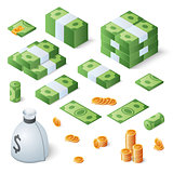 Big money set. Dollar bills and gold coins. Isometric vector illustration