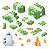 Big money set. Dollar bills and gold coins. Isometric vector illustration
