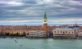 Aerial View of Piazza San Marco and landmarks of, Venice, Italy