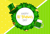 Happy Saint Patricks Day Background with Clover Leaves. Vector Illustration