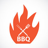 BBQ Icon with Grill Tools. Vector Illustration