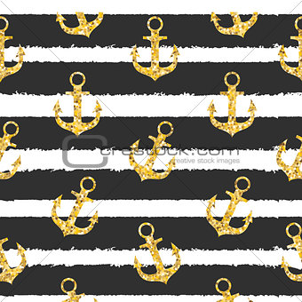 Abstract Design Summer SEamless Pattern  Bakground with Anchor and Sea Wave. Vector Illustration