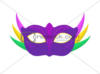 Carnival mask icon, flat, cartoon style. Masquerade, holiday party concept. Isolated on white background. Vector illustration.