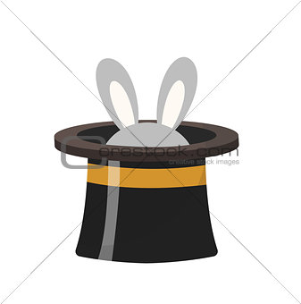 Magician hat with a rabbit icon flat style , isolated on white background. Vector illustration.