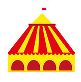 Circus pavilion, yellow tent icon flat style , isolated on white background. Vector illustration.