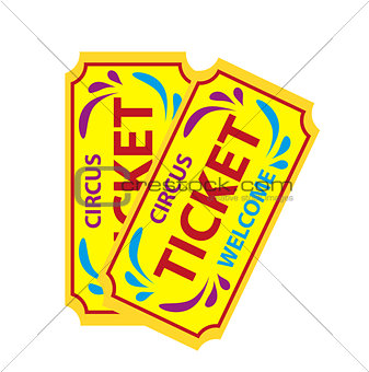 Tickets to the circus icon flat style, isolated on white background. Vector illustration.