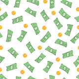 Money is a seamless pattern. Finances endless background. Dollars and coins are a repeating texture. Vector illustration.
