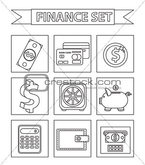 Money and Finance icons set, line style. Collection isolated on white background. Bank objects and items for Web and Mobile Application. Vector illustration, clip-art.