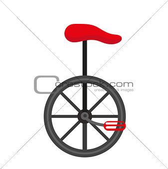 Unicycle circus icon for flat style , isolated on white background. Vector illustration.
