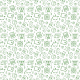 Money seamless pattern, line style. Finances endless background. Business, bank repeating texture with dollars, coins, coin box, calculator. Vector illustration.