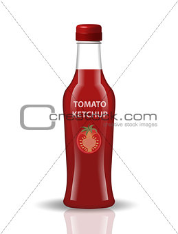 Tomato ketchup in a glass bottle, 3d realistic style. Papkrika red sauce, chili. Mock-up for your product design. Isolated on white background. Vector illustration.
