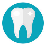 Healthy white teeth. Icon flat style. Dentistry, dentist concept. Isolated on white background. Vector illustration.