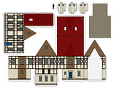 The paper model of a vintage house