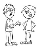 boys kid characters talking cartoon coloring page