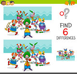 find differences with funny clown characters