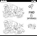 differences game with wild animals for coloring