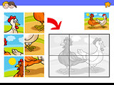 jigsaw puzzles with two chickens farm birds