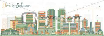 Dar Es Salaam Tanzania Skyline with Color Buildings.