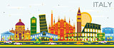 Italy City Skyline with Color Landmarks.