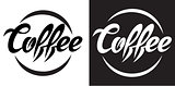 vector illustration with calligraphic lettering of coffee