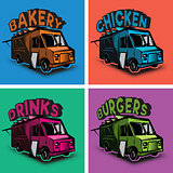 set of vector multicolored templates for fast food cars
