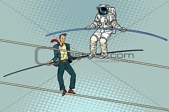 tightrope walkers acrobats businessman and astronaut