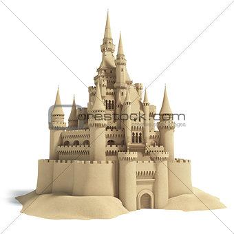 Fairytale sand castle isolated on white background