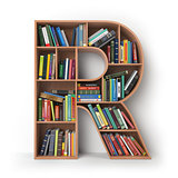 Letter R. Alphabet in the form of shelves with books isolated on
