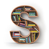Letter S. Alphabet in the form of shelves with books isolated on