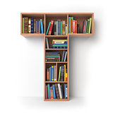 Letter T. Alphabet in the form of shelves with books isolated on