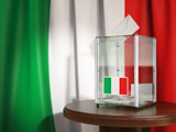 Ballot box with flag of Italy and voting papers.Italian resident