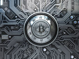 Bitcoin cryptocurrency security  and mining concept. Safe lock w