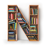 Letter N. Alphabet in the form of shelves with books isolated on
