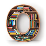 Letter O. Alphabet in the form of shelves with books isolated on