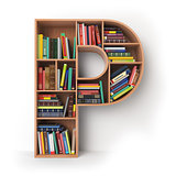Letter P. Alphabet in the form of shelves with books isolated on