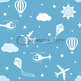 Seamless vector pattern sky background