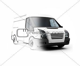 3D generic white van half sketched
